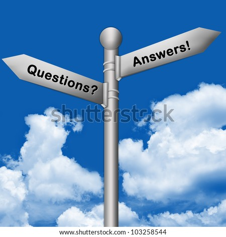 The Silver Question and Answer Traffic Sign on Blue Sky Background