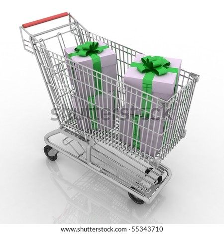 The silvery store cart full of gifts - stock photo