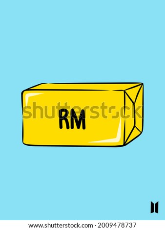The simple alphabet of R and M in yellow and blue background  Stock fotó ©