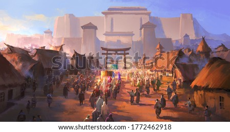 The simple ancient people greeted the foreign envoys, digital painting. Stock fotó ©