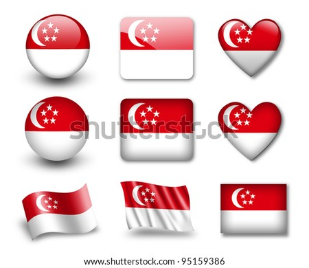 The Singapore flag - set of icons and flags. glossy and matte on a white background.