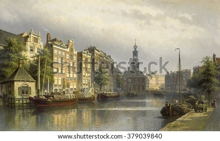 The Singel, Amsterdam, View Toward the Mint, by Eduard Alexander Hilverdink, 1884-86. Dutch painting. The Singel encircled Amsterdam as a moat in the Middle Ages until 1585. By the 1800s it was the in