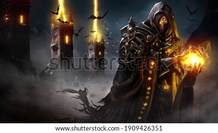 The sinister skeleton lich forms a sphere of fire in his hands, his eyes glowing with magic, he is wearing a ragged cloak and armor, and behind him, the magic towers fire a volley into the night sky.