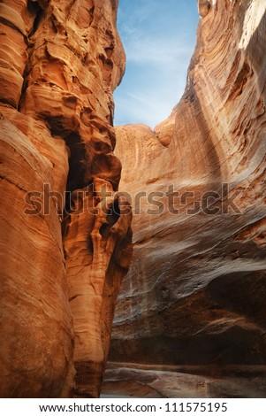 The Siq, main entrance to the ancient city of Petra, Jordan.