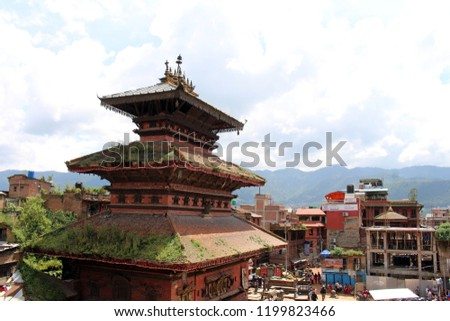 The situation around Bhairava Nath Temple in Bhaktapur Durbar Square complex. Taken in Nepal, August 2018.