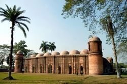 The Sixty Dome Mosque in Bagerhat, Bangladesh. The Sixty Dome Mosque is also known as the Shait Gumbad Mosque and Shat Gambuj Mosque. Bagerhat UNESCO world heritage site, Bangladesh.