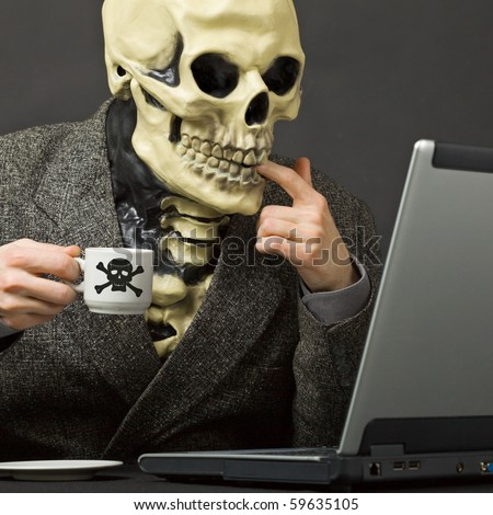 The Skeleton Drinks Poisonous Coffee Sitting At A Table