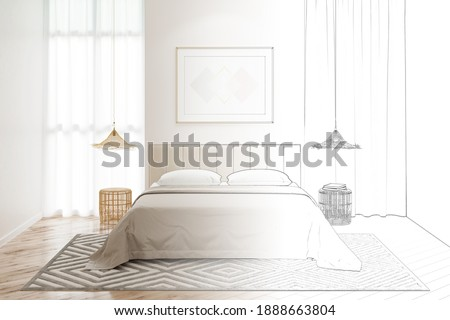 The sketch becomes a real bedroom with a horizontal poster on the wall between windows, a bed with wicker chandeliers over bamboo bedside tables, and a carpet on the tiled floor. Front view. 3d render Photo stock ©