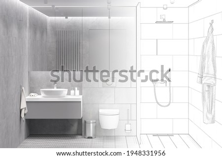 The sketch becomes a real gray bathroom with a storage cabinet with mirrored door above the washbasin and built-in toilet, bathrobe, shower with glass partition, mosaic floor, tiled walls. 3d render Photo stock ©