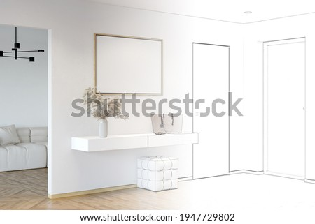 The sketch becomes a real hallway with a blank horizontal poster between the door and the doorway to the living room, pampas grass and a bag on the curbstone, a pouf on the parquet floor. 3d render Photo stock ©