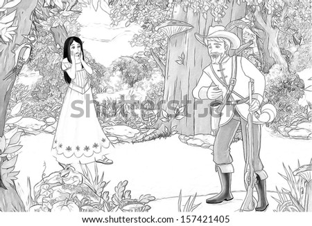 The Sketch Coloring Page Artistic Style Illustration For The