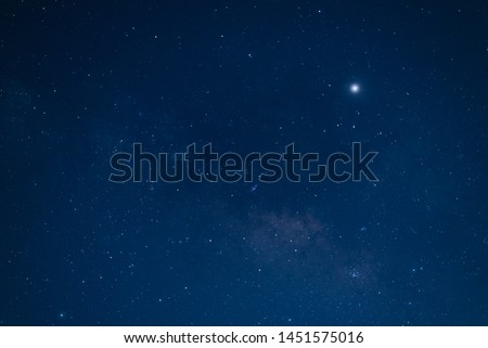 The sky and star in the mid night time.Night landscape and milky way.Universe and space background.