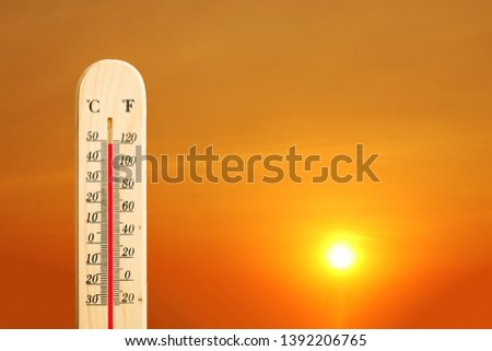 The sky and the hot sun With heat meter