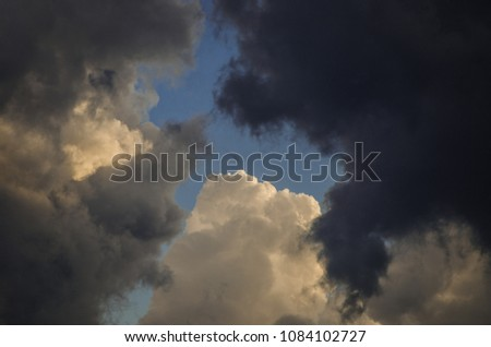 The sky before thunderstorm in May. Different clouds in the sky.