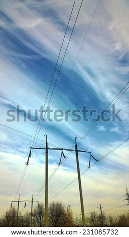 The sky over electrical wires - Power line - Electric wires cross the sky