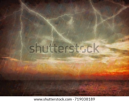 The sky over the sea during a thunderstorm. Lightning in the sky at sunset. Pastel painting artwork. Painted on canvas hand drawn landscape of the storm.