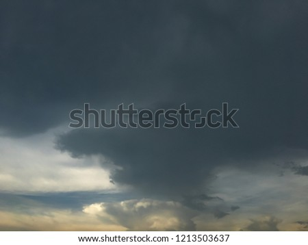 The sky when it.s going to rain, stormy sky, cumulonimbus clouds are ready to rain. #1213503637