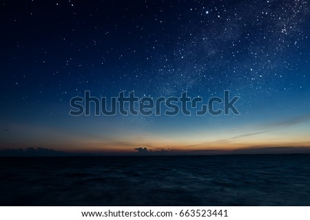 the sky with star at the lake...