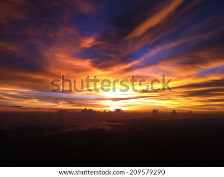 the sky with Sun light under blue sky and evening Cloud #209579290