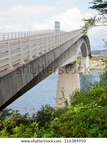The Skye Bridge over Loch Alsh, connecting mainland Highland with the Isle of Skye in  Scotland