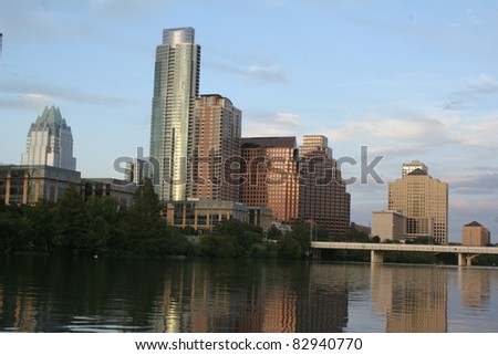 The skyline of Austin, Texas over Lady Bird Lake - stock photo