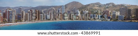 The skyline of Benidorm on the costa Blanca