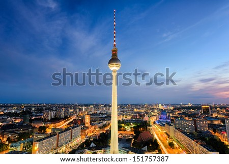 The skyline of Berlin, Germany at night