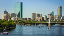 The skyline of Boston in Massachusetts, USA on a sunny summer day.