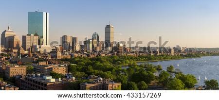 The skyline of Boston in Massachusetts, USA on a sunny summer day.