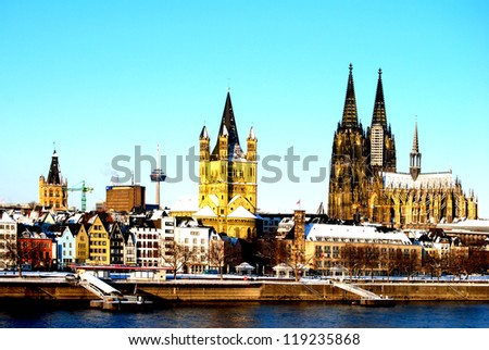 The skyline of Cologne in Germany with the Cathedral and the old town