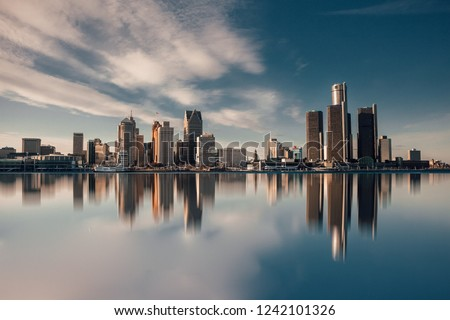The skyline of Detroit viewed from ontario  #1242101326