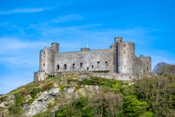 The skyline of Harlech with it's 12th century castle, Wales, United Kingdom.