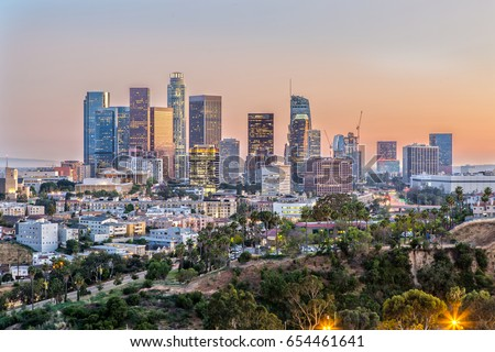 The Skyline of Los Angeles at Sunset #654461641