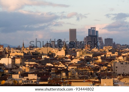 The skyline of Madrid (Spain) from de CBA (Circulo de Bellas Artes) during the sunset