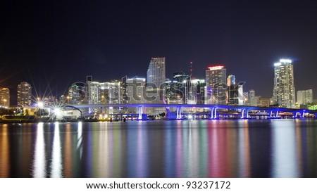 The Skyline of Miami at NIght - stock photo