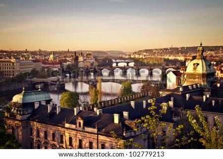 The skyline of Prague at sunrise, Czech Republic
