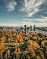 The skyline of Rotterdam, The Netherlands with Autumn Colors