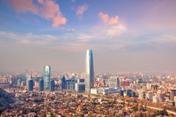 The skyline of Santiago in Chile at sunset.