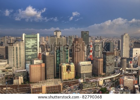 The skyline of the city of Osaka, Japan.