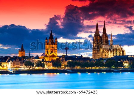 The skyline of the German city Cologne (Koeln) with the famous cathedral