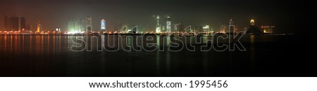 The skyline of the New District of Doha, Qatar, seen across the bay from Al Bidda area. October 2006.