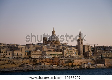 The skyline of Valletta, the capital of Malta, at sundown