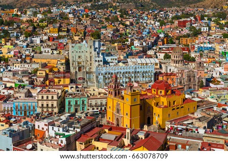 The skyline with the colorful church of Guanajuato City during daytime, Mexico. #663078709