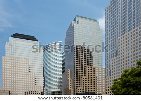 The skyscrapers of the financial district in New York