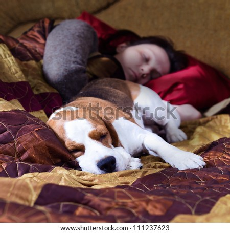The sleeping woman and its dog , focus on a dog.