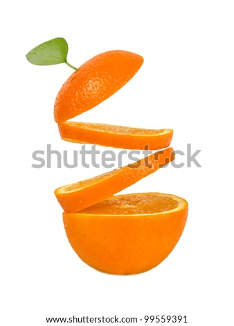 the slices of orange  fall a spiral on the half of orange  on a white background