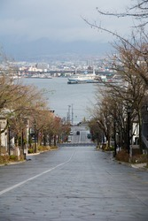 The slope after the rain with a view of the harbor in Hakodate