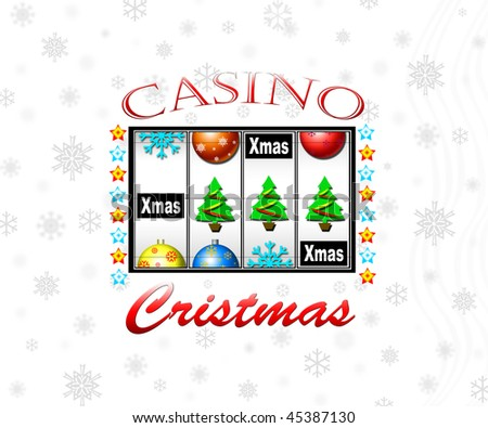 The slot machine in a casino shows Christmas