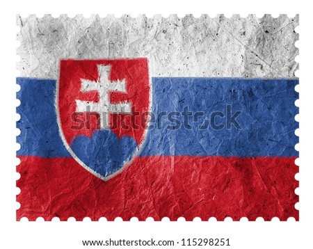 The Slovakia flag painted on  paper postage  stamp