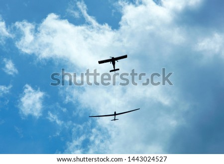 Photo of  The small airplane helping to reach the height before releasing the sailplane glider (Birstonas, Lithuania).